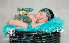 Golden Turquoise Newborn Wings