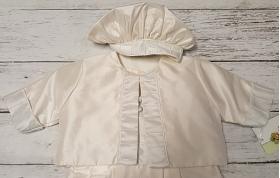 Christie Helene Ivory & Blue Silk 3 Pc Romper Jacket & Hat Christening Set (6m)