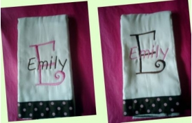 Two Pink & Brown Burp Cloths