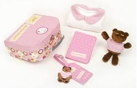 Pink First Suitcase Pajama Bear & Passport Cover Gift Set
