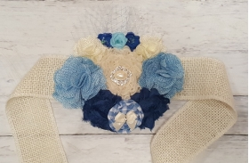Baby Boy Blue Gingham Rustic Burlap Flowers & Pearls Maternity Sash Photo Prop