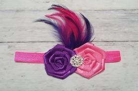 Purple & Hot Pink Rosette Crystal Embellishment & Feather Headband