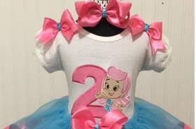 Bubble Guppies Molly Birthday Turquoise & Hot Pink Ribbon Tutu 3 Pc. Set