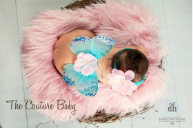 "Pink & Blue Sequin ""Cotton Candy"" Wings & Headband 2 Piece Photo Prop Set"