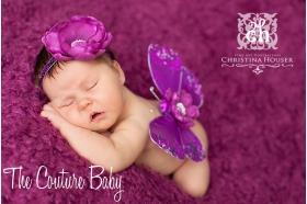 Regal Purple Sequin Butterfly Wings & Headband Photo Prop 2 Pc Set