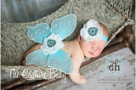 Aqua Blue & White Sequin Butterfly Wing & Headband 2 Piece Photo Prop Set fairy wing set angel wing set
