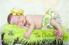 Lime Green & Pink Ruffle Flower La Bella Headband