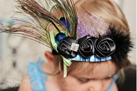 Peacock Feathers & Black Rolled Rosettes Headband