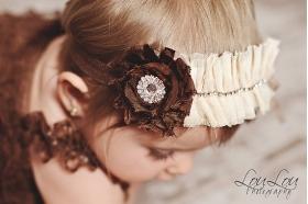 Ivory Cream & Brown Accent Vintage Rhinestone Ruffle Headband