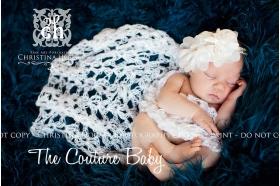 Cream Puff Pearl Organza Headband christening baptism