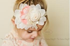 Ivory Cream Organza Flower & Salmon Pink Pearl Headband