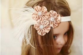Satin Cluster Feather Headband