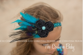 Teal Peacock Sequins & Tulle Couture Feather Dress