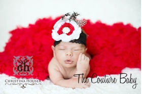 Ivory & Red Vintage Couture Flower & Pearls Headband