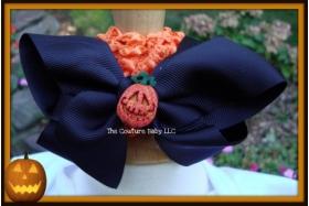 Black & Orange Pumpkin Halloween Bow & Headband