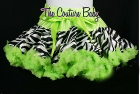 Zebra Print Pettiskirt & Lime Green Chiffon Ruffles (Size 0-9m or 1/2)