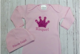 Layette Gown with Sparkle Applique, Crown Design, Name and Phrase on Hat