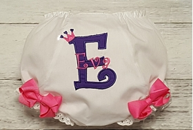 Pink & Purple Birthday Crown Applique Personalized Diaper Cover Infant Toddler Bloomers