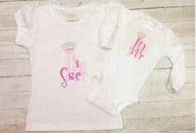 Big & Little Sister Princess Personalized Top Shirt Onesie Set