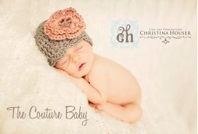 Mauve & Gray Floral Knit Hat