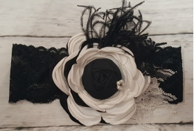Black & White Flower Ostrich Feather Vintage Lace & Pearl Headband shabby chic