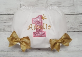 1st Birthday Personalized Gold and Pink Glitter Crown Tiara Princess Diaper Cover Bloomer