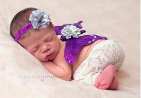 Purple & Silver Sparkle Butterfly Wing & Headband Photo Prop 2 Piece Set