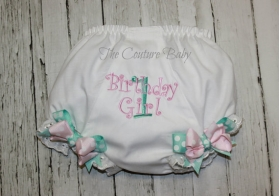 Princess Pink & Tiffany Blue Birthday Diaper Cover