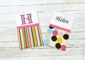 2 Mod Girly Personalized Burp Cloths