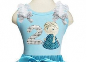 Elsa Turquoise and Silver Age Snowflake Pettiskirt & Top 2 Piece Birthday Set