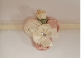Petite Dusty Pink & Ivory Rolled Silk Roses and Swarovski Accent Headband