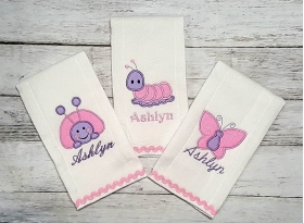 """Pink & Lavender Personalized Girls  """"Baby Bugs""""3 Piece Burp Cloth Set"""