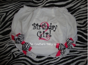 Zebra Print Birthday Personalized Diaper Cover Bloomers