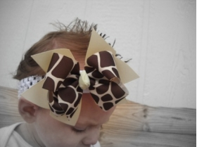 Giraffe Print & Tan Double Bow & Headband