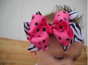 Zebra Print & Hot Pink & Black Polka Dot Double Bow & Headband