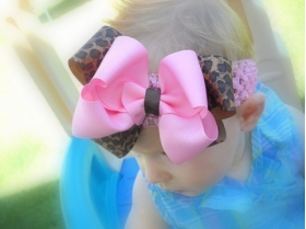 Brown Leopard & Pink Double Layer Bow & Headband