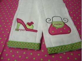 Purse & Shoe Personalized Burp Cloths