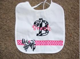 Customized Embroidered Bib with Name, Initial, Ribbon and Bow