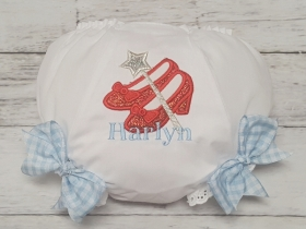 Dorothy Red RUBY SLIPPERS SHOES Personalized Glitter Diaper Cover Bloomers