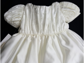 "Christie Helene ""Jasmine"" Ivory Pin Tucked Pearl Beaded Christening Gown 4 Pc Set-(6m)"