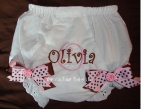 Pink & Brown Dots Personalized Diaper Cover
