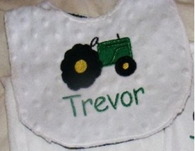 Customized Applique Bib with Tractor Truck DESIGN and Name