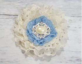 Baby Boy Blue Gingham Rustic Burlap Flowers & Pearls Maternity Sash Photo Prop