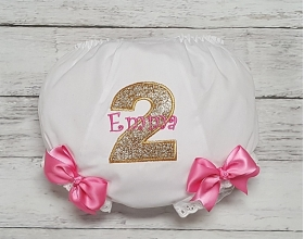 2nd Birthday Hot Pink & Gold Glitter Personalized Name and Age Diaper Cover Bloomers with Bows