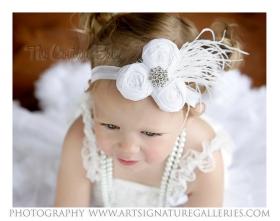 Pearl White Dupioni Silk Rolled Rosette Norma Jean Headband
