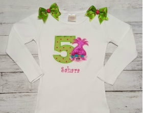 Hot Pink & Lime Green Troll Personalized Birthday Shirt Onesie or Tank Top