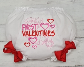My First Valentine's Day Girls Infant Diaper Cover Bloomers