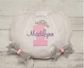 Pink Lavender and Silver Princess Crown Birthday Personalized Diaper Cover Bloomers & Bows