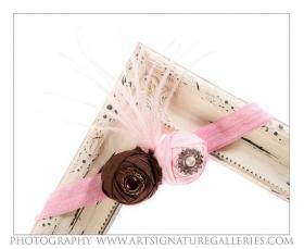 Pink & Brown Dupioni Silk Rosette Ostrich Feather Headband
