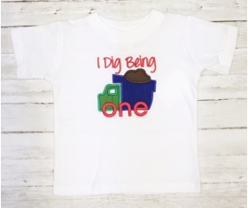 Boy's Customized Shirt with Phrase and Truck Applique